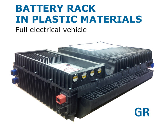 Battery rack in plastic materials - Full electrical vehicle